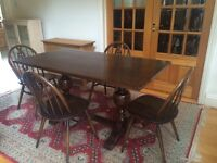 Charming Antique Solid Oak Dining Table & 4 Ercol Dining Chairs