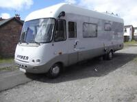 HYMER S820, MERCEDES, 6 BERTH, FIXED BED, LARGE GARAGE, 2 OWNERS, 37,000 MILES
