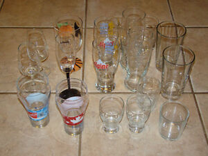 LOT OF GLASSES - WINE, BEER - Large/small