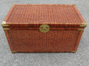 Vintage Rattan Wicker Chest / Trunk w/ Brass Accents