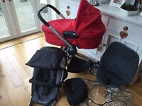 Quinny Buzz Pram with Carrycot and Maxi Cosi Adapters