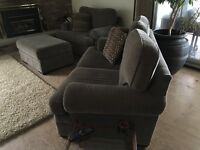 Loveseat and oversized chair with ottoman
