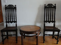 Antique chair & coffee table set