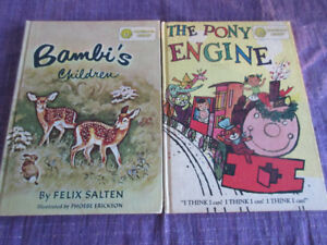2 x Vintage 1959/1960 2 in 1 story bks - Bambi's Children etc...