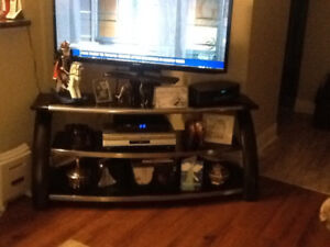 Large TV Console Stand with Glass Shelves