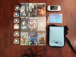 PSP System, games, movies and a carrying case