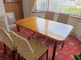 Gplan teak dining table with 4 chairs