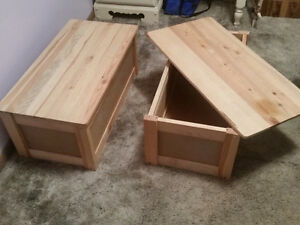 wooden storage tables