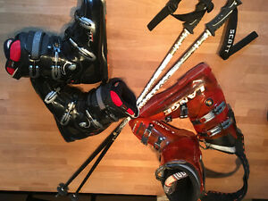 Ski boots and poles