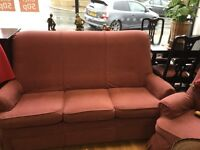 Sofa and armchairs (one reclining)
