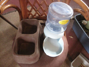 Water dispenser and food dish.-STRATHROY