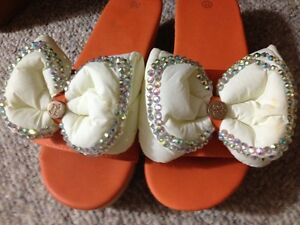 Colourful Rhinestone sparkling bow orange sandals