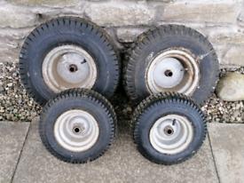 Ride-on mower wheels