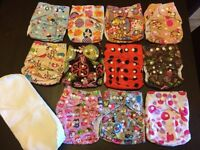 11 unbranded one size pocket snap diaper with 26 MF inserts
