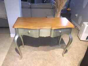 Brushed silver desk with light oak top