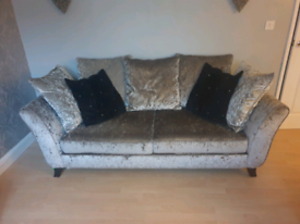 Crushed Velet 3 & 2 Seater Sofa's in Silver