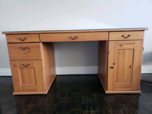 IKEA SOLID WOOD DESK WITH GLASS TOP