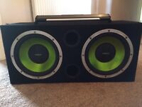 """Fusion twin 2400w 12"""" car subwoofer amplifier sub amp stereo system"""