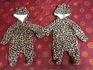 Leopard print lounge jumpsuit for Halloween Twins