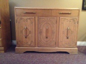 dinning table and 4 chairs, buffet and cabinet