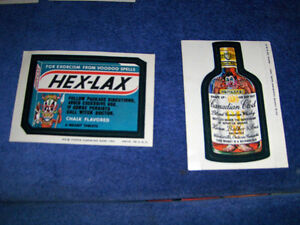 2 VINTAGE TOPPS STICKER CARDS-WACKY PACKAGES-1973-HEX LAX+