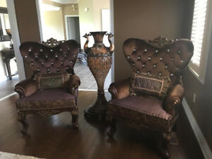 2 Elegant Chairs + Matching Piece, lIke brand New