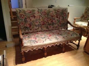 Louis 14 style Carved high back Sofa and Armchaires
