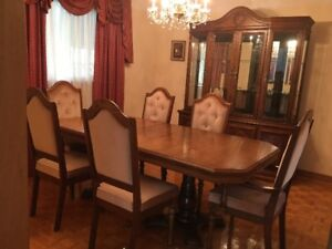 Double pedestal dining table set