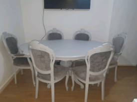 Shabby Chic French Dining Table & 6 Chairs