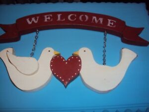 Folk Art Wooden Dove Welcome Sign, New