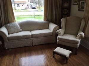 Sofa and wing back chair