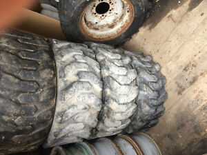Used skid steer tires 9 in total