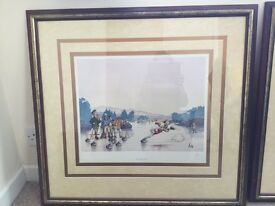 Large framed limited edition cartoon curling prints by Loon