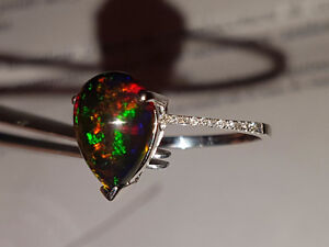 New solid 14k white gold opal diamond ring