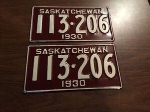 1930 sask. NOS license plates