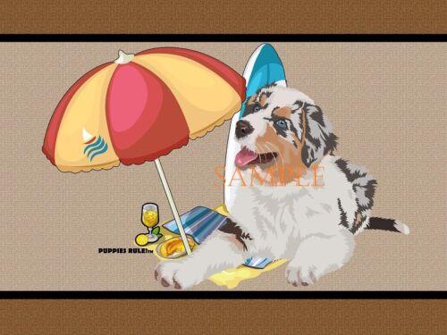 Puppies Rule Australian Shepherd Dog Beach Buddy House Decor Door Mat Floor Rug