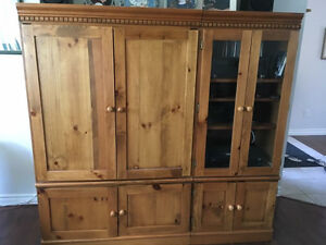 Solid wood tv cabinet 2 piece