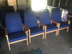 Blue reception chairs.