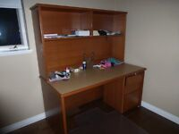 Desk with hutch and filing drawers