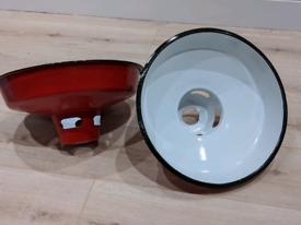Pair of vintage industrial red enamel painted pendant lampshades