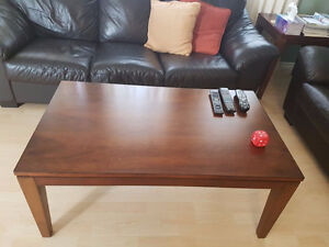 Brown Wooden Living Room Coffee Table and Side Table Set