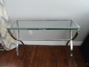 Console / side table - silver chrome & tempered glass