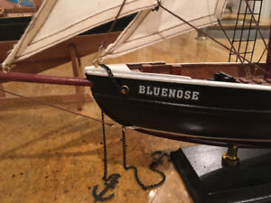 "Wood Bluenose Model Boat 24"" Display Crafted Harbour Dime Scale"