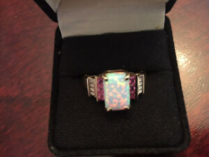 Brand New 10K Gold Ring with  Opal,  Pink Sapphire,  Diamonds