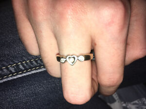 10k Gold Ring with 3 Small Diamonds