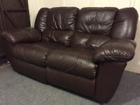 Luxury fultons full grade leather reclining 2 seater sofa