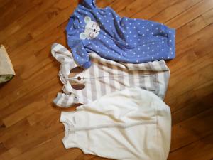 3 small sleep sacks