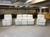 G PLAN NESTON FABRIC THREE PIECE SUITE ELECTRIC POWER RECLINER 3 SEATER SOFA AND PAIR ARMCHAIRS