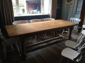 Solid antique pine refrectory table & chairs