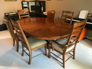 Classic pedestal dining table set 6 chairs